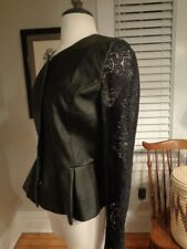 ROMEO & JULIET Couture Neiman Marcus leather & lace jacket NWT $218 Women's M