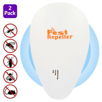 2x Ultrasonic Pest Repeller Plug in Repellent Mouse Mice Rat Spider Insects NEW