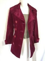 Juicy Couture Jeans Shapely Belted Pink Cotton Velvet Lined Button Jacket Coat S