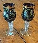 Lausitzer Crystal Glass Mouth Blown Hand Cut German Goblet Cup Wine Pair Vintage