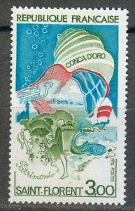France 1974 MNH Mi 1873 Seashell over Corsica. Fish.Yacht **
