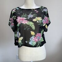 """Juniors/Woman's  Black Tropical Cropped Top By  """"Material Girl"""" Active Size XS"""
