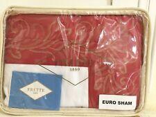 "Frette Euro Pillow Sham Italy Flare Border 1x Rosso Beige 26x26"" Cotton New $235"