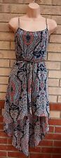 NEW LOOK BLUE PEACHY PINK PAISLEY BAROQUE BELTED SKATER FLIPPY A LINE DRESS 10 S