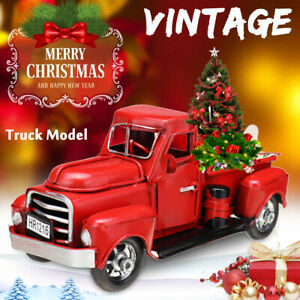 UK Red Truck Christmas New Year Decoration For Children Car Model Metal Vehicle