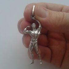 MUSCLE MAN BODYBUILDER DUMBBELL BARBELL Necklace Pendants Fitnes Zyzz Frank Zane