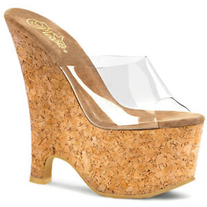 """Sexy clear cork 6 1/2"""" pole dance wedges"""