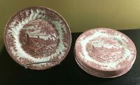 "(6) Churchill THE BROOK PINK 10"" Dinner Plates"