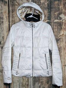 Obermeyer Bombshell Jacket Womens 6 White Hooded Puffer Ski Snow Winter Coat