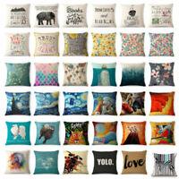 """Colorful Art Animal Cotton Linen Throw Pillow Case Cushion Cover Sofa Car 18"""""""