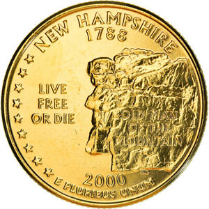 [#381119] Coin, United States, New Hampshire, Quarter, 2000, golden, MS(60-62)