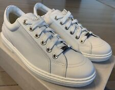 $600 Jimmy Choo Cash White Leather Sneakers size US 8, Made in Italy