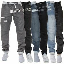 New Mens ENZO Cuffed Regular Fit Jogger Denim Jeans Fashion Designer