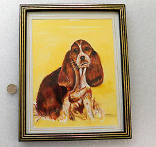 "Basset hound puppy Water colour painting H M Beach dog picture framed 9.5"" x 8"""
