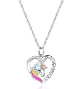 Life is beautiful Unicorn Rainbow heart necklace silver chain Girls, pretty 71