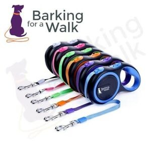 BarkingforaWalk Strong Retractable Dog Lead for 3m 5m 8m upto 50Kg  Pup to Adult