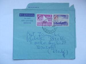SINGAPORE MALAYA AIR LETTER air mail Trieste vecchia busta posta aerea