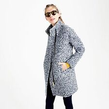 NWT J.CREW BOUCLE COCOON COAT Navy Ivory Size 0 XS Sold Out
