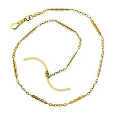 """Antique Art Deco 14k Two Tone Gold 14"""" Pocket Watch Link Chain & Wavy Toggle Bar"""