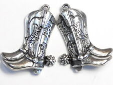 SET OF 2 ANTIQUED SILVER WESTERN COWBOY BOOT PENDANTS DROPS CHARMS FINDINGS