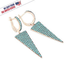 Turkish Earrings for Women 925 Sterling Silver Blue Turquoise Stone Jewelry