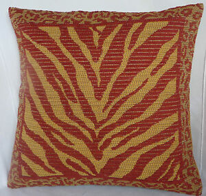 animal stripes spots gold maroon tapestry style chenille padded cushion X 2