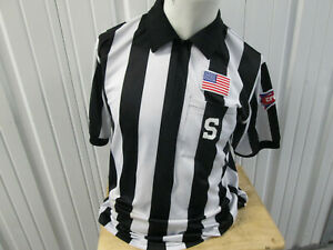 VINTAGE THE OFFICIAL CHOICE COLLEGE FOOTBALL REFEREE LARGE SEWN JERSEY STRIPED
