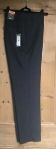 Brand New Men's Marks and Spencer Navy Blue Small Check Skinny Fit Trousers Size