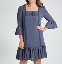 Katies Lace Trim Blue - Bell Sleeve Dress Size 16 Free Post