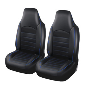 2Pcs Black/Blue Car Truck SUV Seat Cover Set Front Bucket  Synthetic Leather