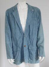 ORVIS 100% LINEN Blazer Men's 46 Tall 46T Chambray Light Blue Long Summer Sping