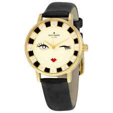 Kate Spade Original KSW1052 Wink Face Metro Black Leather Watch 34mm