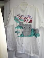 T Tee Shirt XL White with Great Wall of China Short Sleeve Cotton Polyester