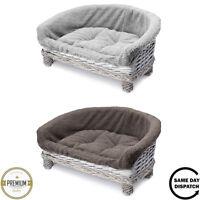 New Tempar Luxury Handmade Wicker Half Moon Raised Cat Sofa Couch Cushion Bed