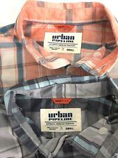 LOT OF 2 Urban Pipeline Men's Small MaxFlex L/S Button Front Shirts, Plaid