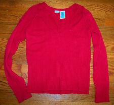 Women's Juniors NO BOUNDARIES Jubilee Red Cotton V-Neck Sweater Size XL 15 / 17