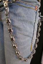 Heavy Silver Metal Long Jeans Wallet Key Chain Large Chunky Skulls Trucker Biker