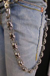 Heavy Silver Metal Long Jeans Wallet Key Chain Large Chunky Skulls Trucker Biker