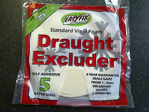 Foam Draught Excluder   Easyfix   Self Adhesive   5m & 15m Pack, White or Brown