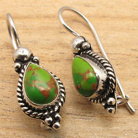 GREEN COPPER TURQUOISE Gems Jewelry Art Earrings ! 925 Silver Plated GEMSET