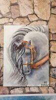 Original Gemälde Pferd handgemalt Kunststück abstrakt modern Aquarelle Malerei