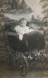 Vintage RPPC - Baby in Very Nice Baby Stroller!