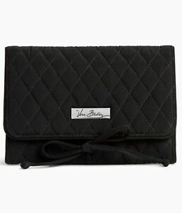VERA BRADLEY All Wrapped Up Jewelry Roll CLASSIC BLACK Case NWT MICROFIBER New