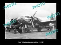 OLD POSTCARD SIZE PHOTO OF ESSO OIL COMPANY AEROPLANE c1950S