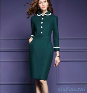 Lady Womens Winter Wool Blend Dress Coat Laple Slim Mid Long Outwear Knee Length