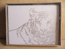 NEW Vintage Hallmark Crown White Tiger 8 Note Cards & Envelopes