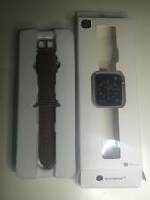 Monowear 38mm Apple Watch Strap Band Bracelet Brown Genuine Leather Matte Silver