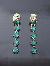 Vintage Green crystal dangle chandelier earrings green eye Lion head 2.75 inch L