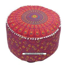 "22""Inch Ottoman Round Seat Cover Ombre Mandala Red Cotton Pouf Stool Home Decor"