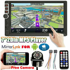 7'' Car Stereo Radio Double 2DIN+Cam Mirrors For Android GPS Navi NO-DVD Player